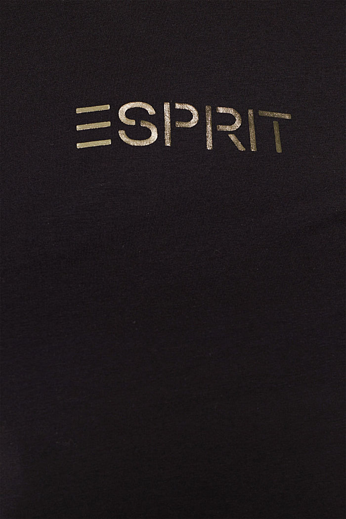 Stretch T-shirt with a shiny logo, BLACK, detail image number 4