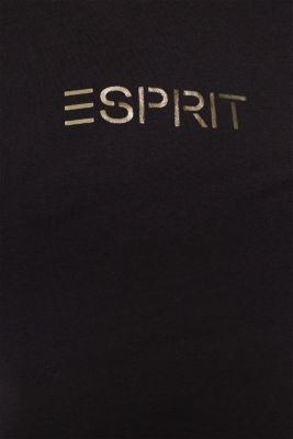 Stretch T-shirt with a shiny logo, BLACK, detail