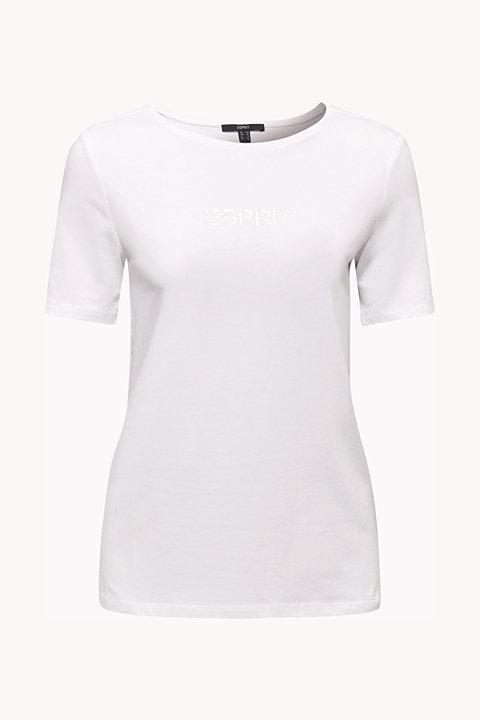 Stretch T-shirt with a shiny logo