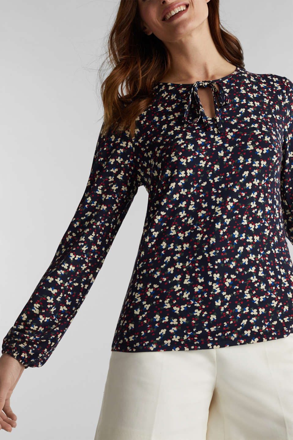 Stretchy long sleeve top with balloon sleeves, NAVY, detail image number 2