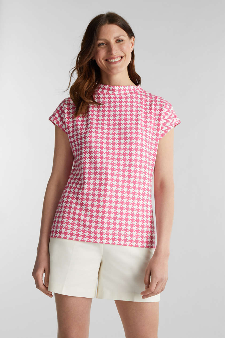 Esprit - Stretch top with a wide stand-up collar