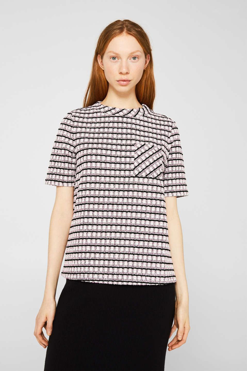 Bouclé top with check pattern, PINK, detail image number 0