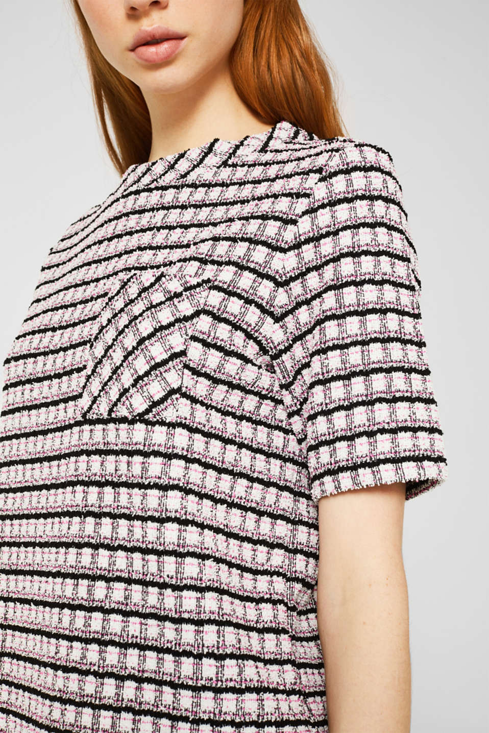 Bouclé top with check pattern, PINK, detail image number 2