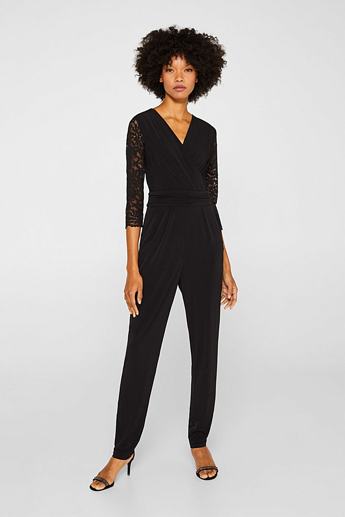Jersey jumpsuit with lace sleeves, BLACK, detail image number 0