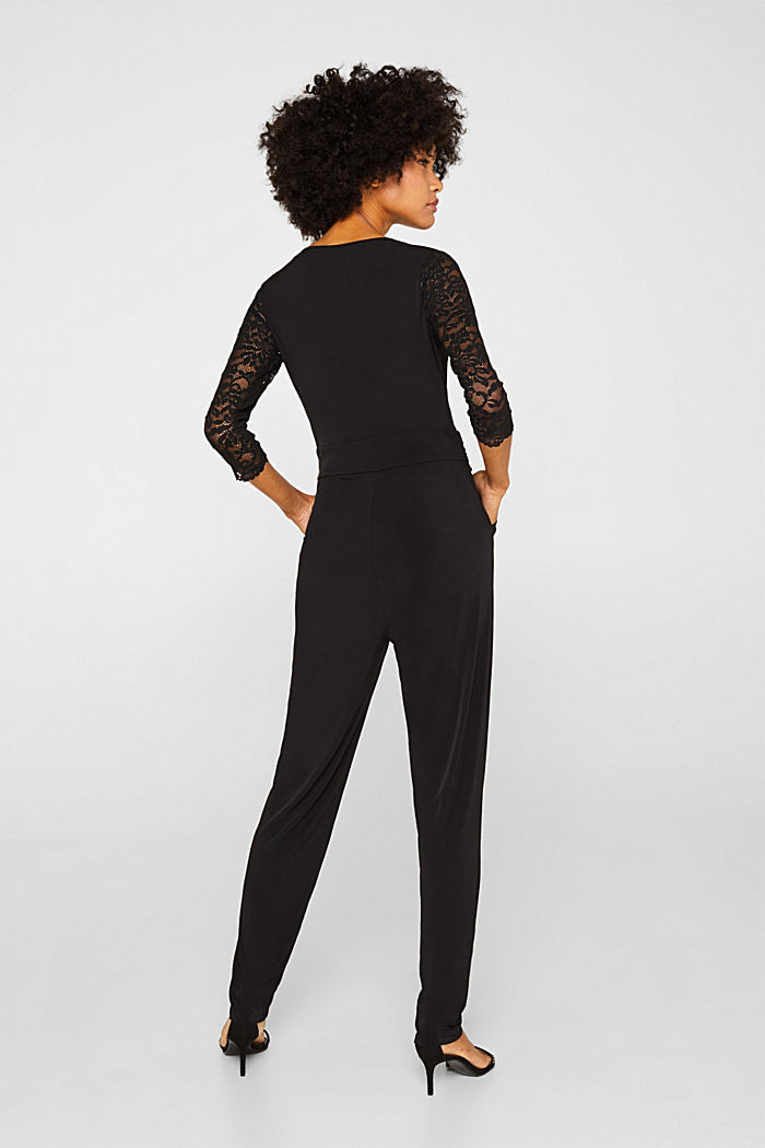 Jersey jumpsuit with lace sleeves, BLACK, detail image number 2