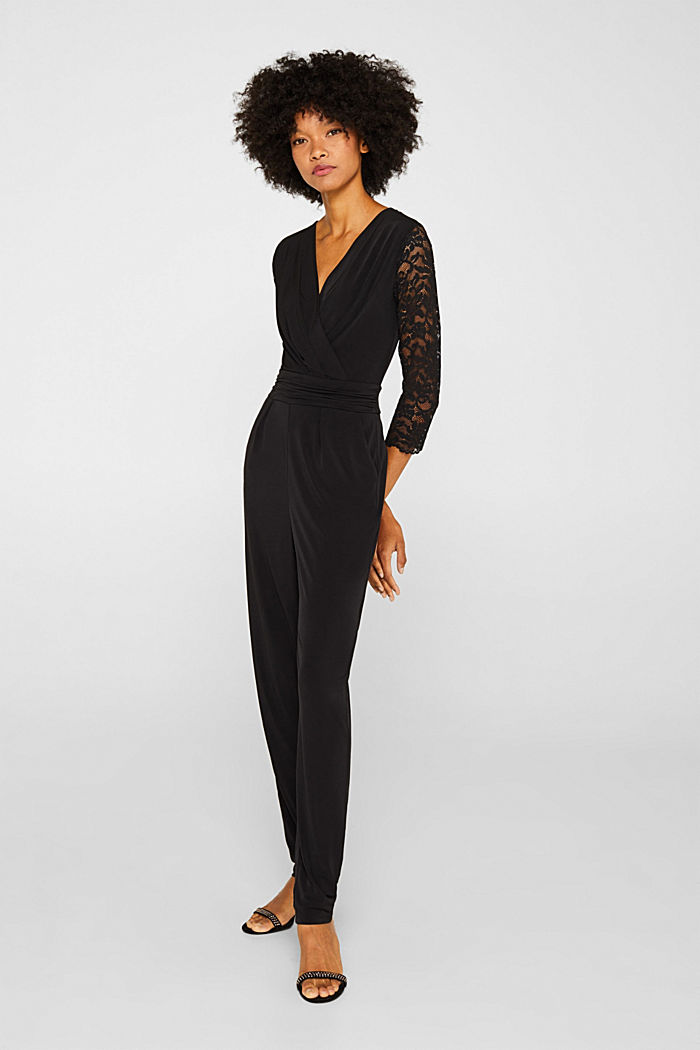 Jersey jumpsuit with lace sleeves, BLACK, detail image number 5