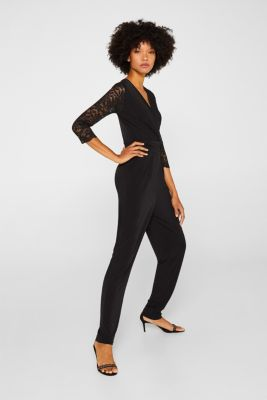 Jersey jumpsuit with lace sleeves, BLACK, detail