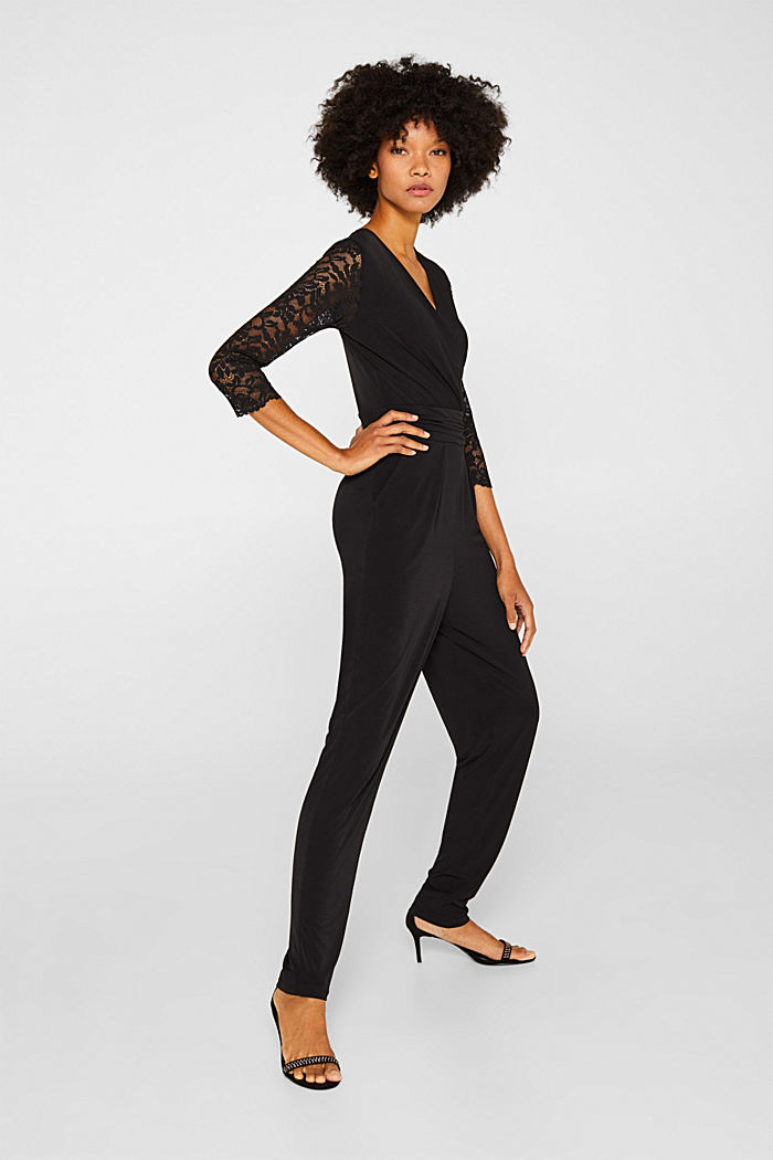 Jersey jumpsuit with lace sleeves, BLACK, detail image number 1
