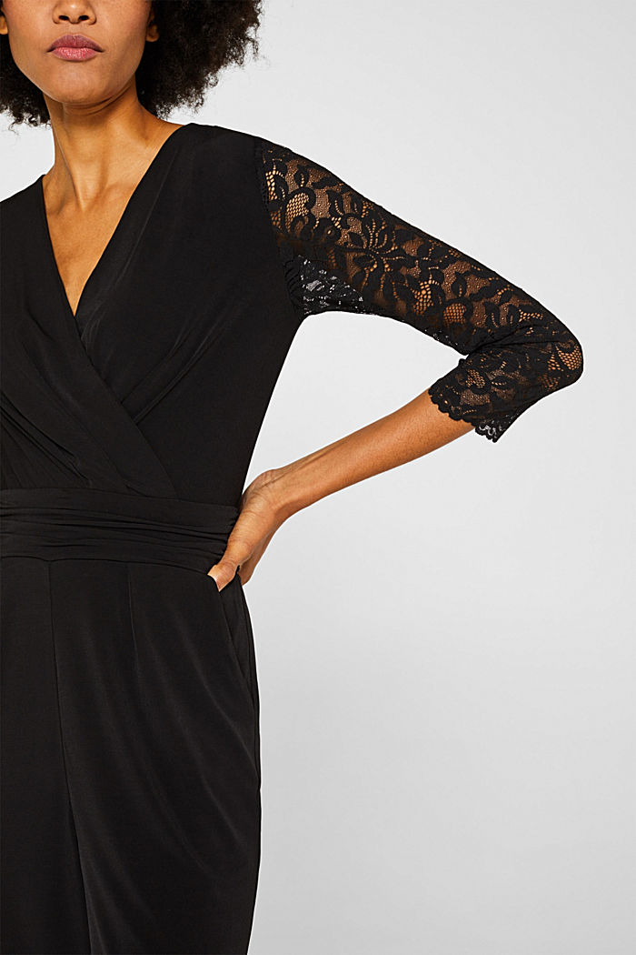 Jersey jumpsuit with lace sleeves, BLACK, detail image number 3