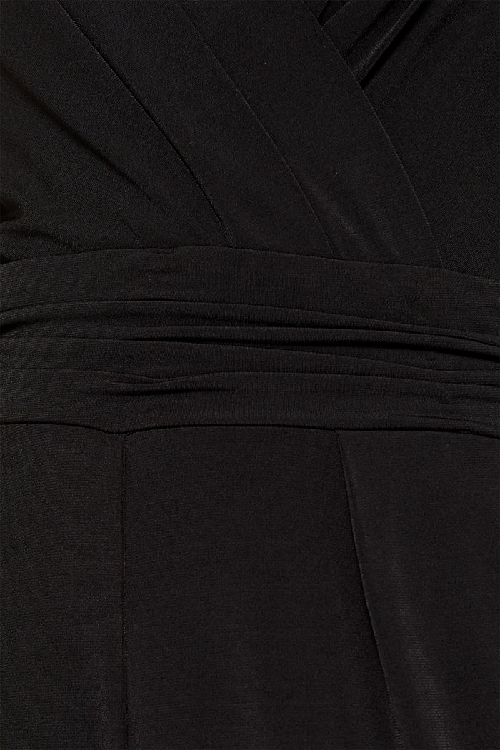 Jersey jumpsuit with lace sleeves, BLACK, detail image number 4
