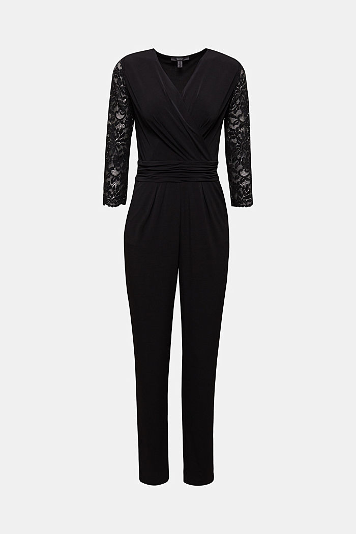 Jersey jumpsuit with lace sleeves, BLACK, detail image number 6