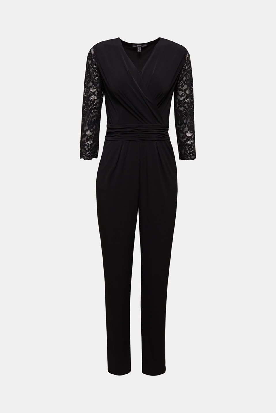 Jersey jumpsuit with lace sleeves