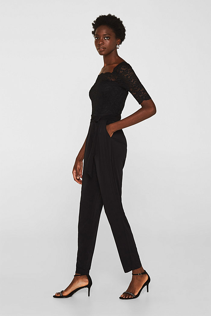 Jersey and lace jumpsuit, BLACK, detail image number 0