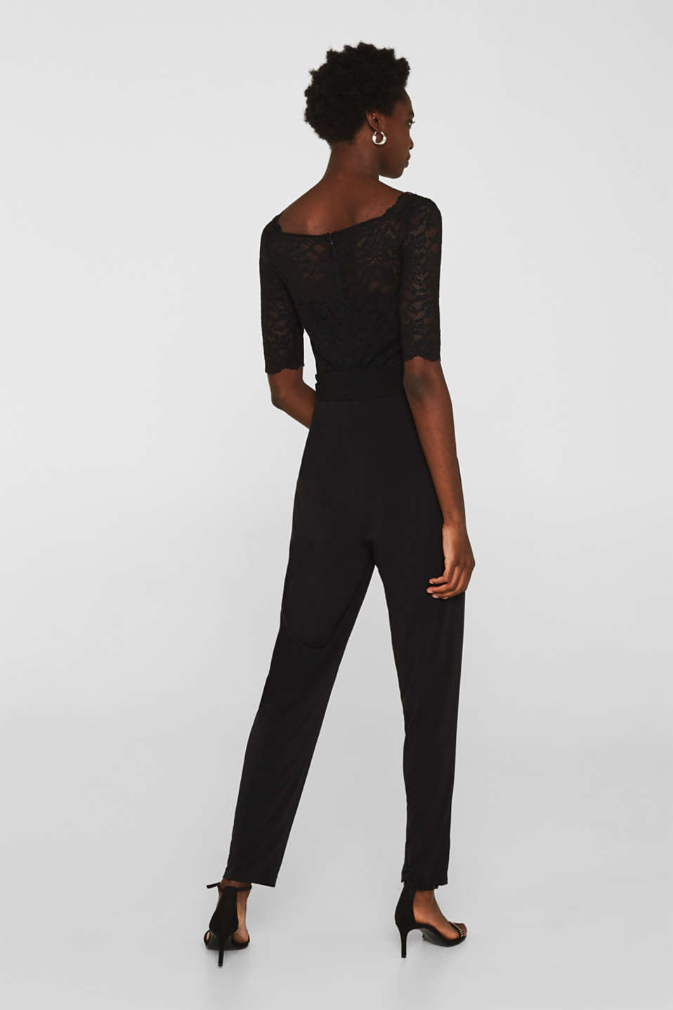 Jersey and lace jumpsuit, BLACK, detail image number 2
