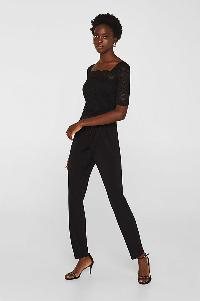 Jersey and lace jumpsuit, BLACK, detail image number 1