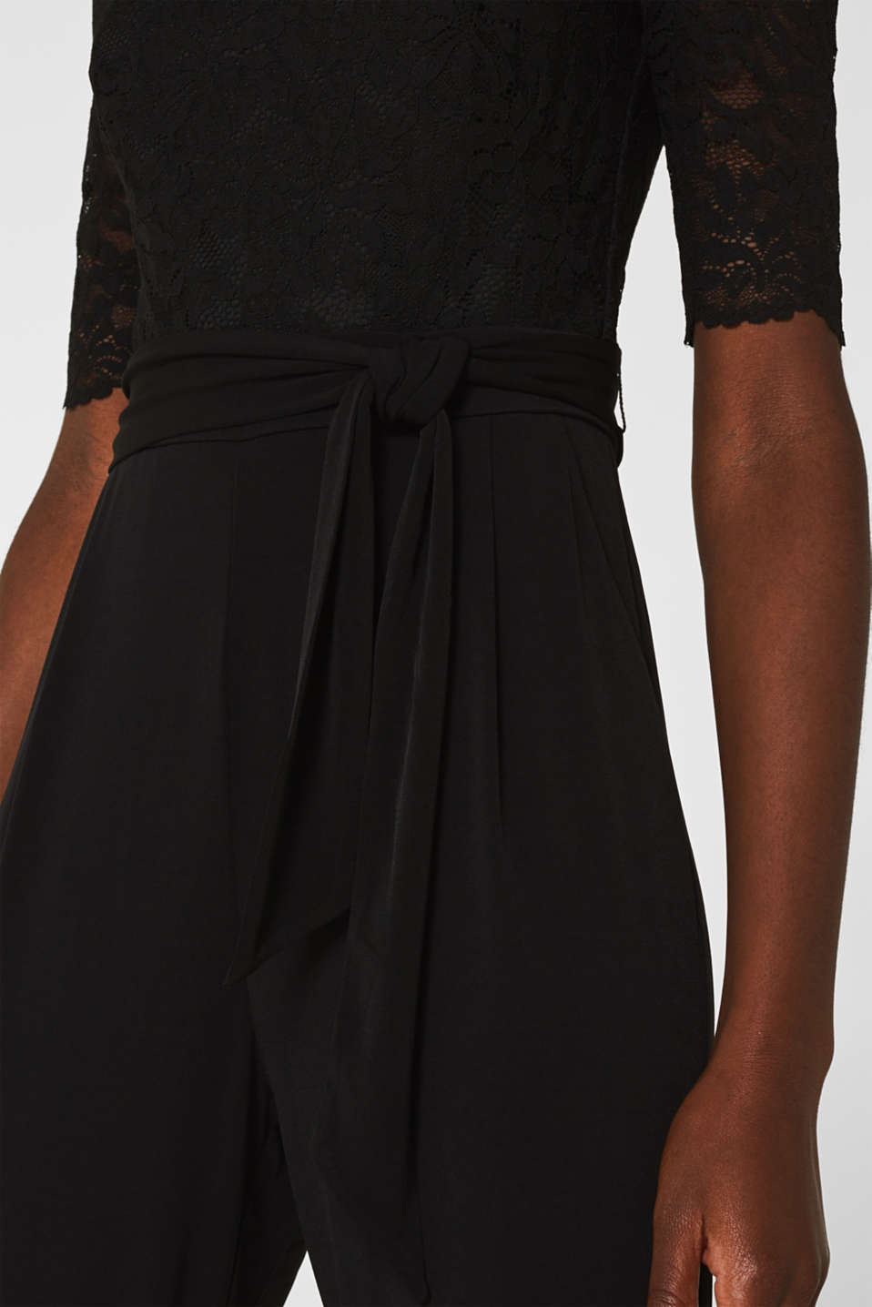 Jersey and lace jumpsuit, BLACK, detail image number 3
