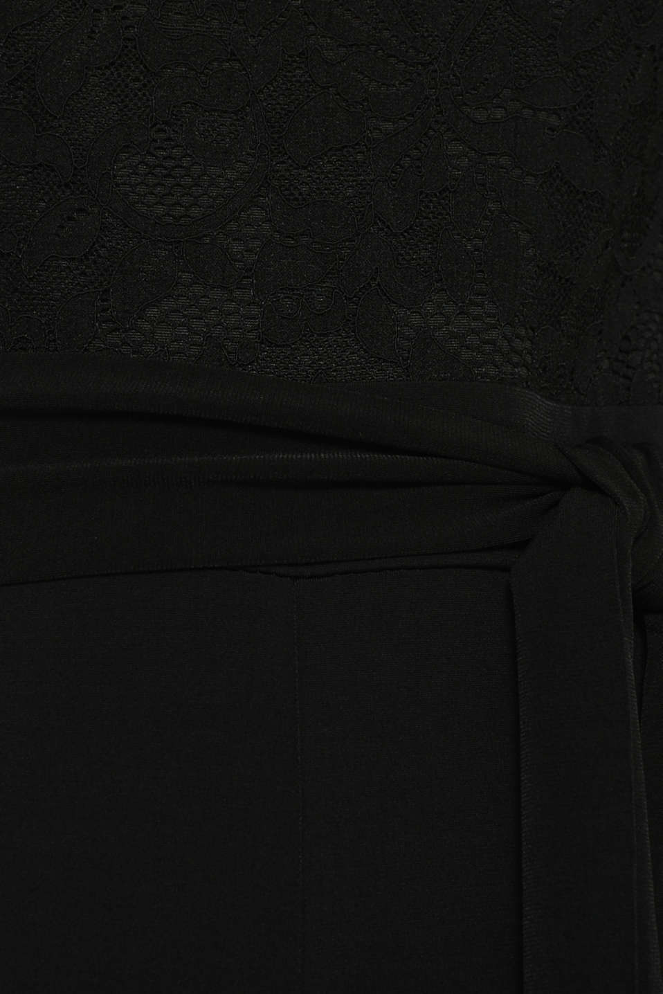 Jersey and lace jumpsuit, BLACK, detail image number 4