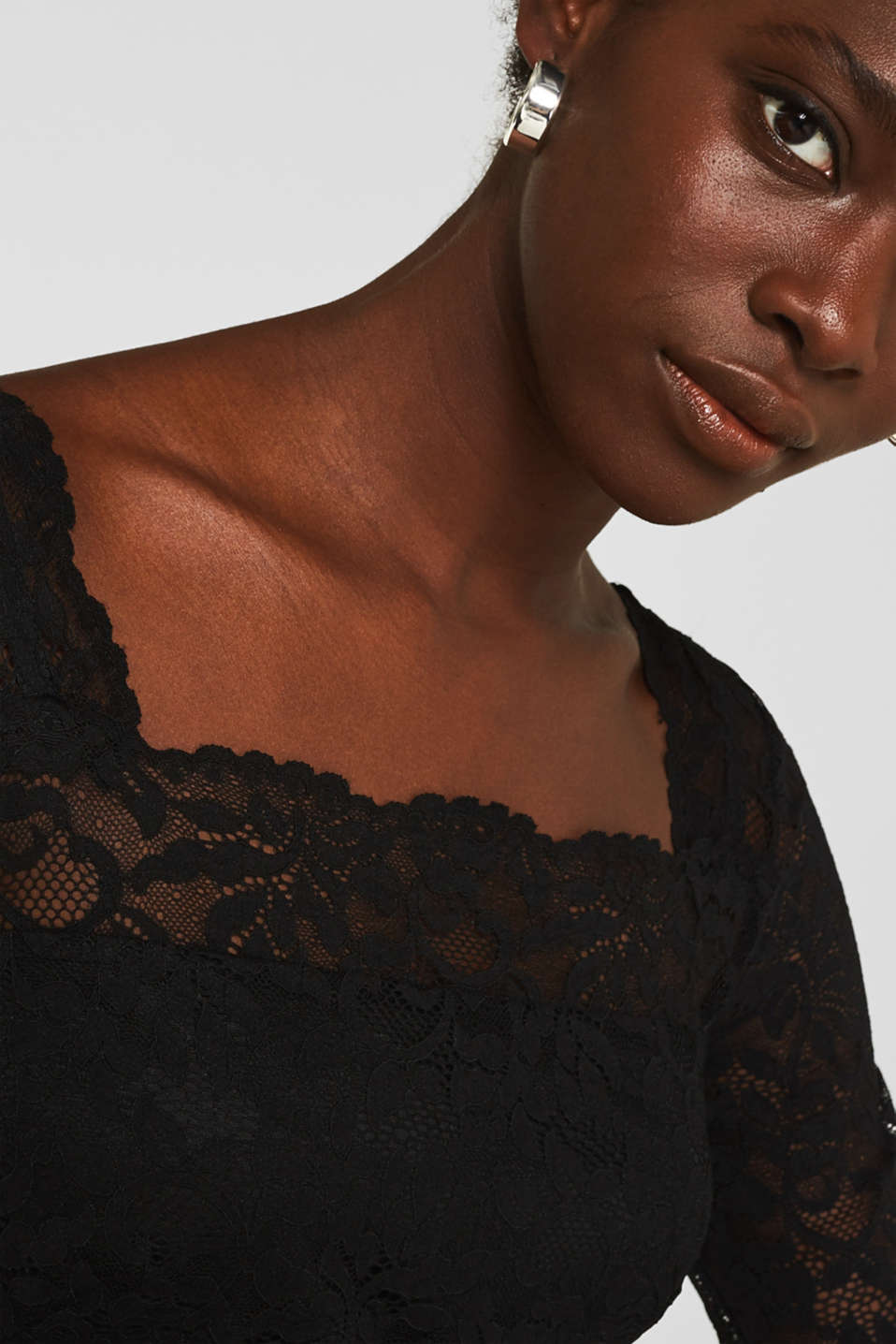 Jersey and lace jumpsuit, BLACK, detail image number 5