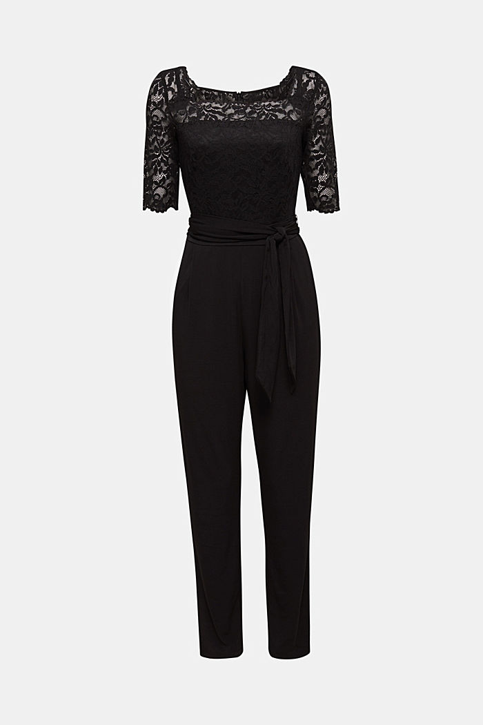 Jersey and lace jumpsuit, BLACK, detail image number 6