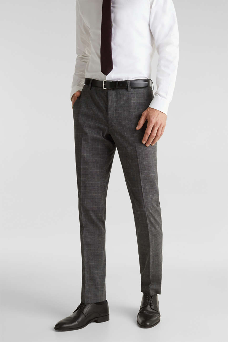 GLENCHECK mix + match: Trousers with Prince of Wales check pattern, DARK GREY 3, detail image number 0