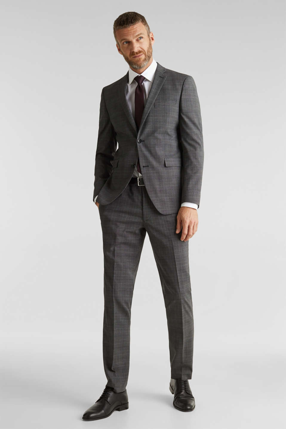 GLENCHECK mix + match: Trousers with Prince of Wales check pattern, DARK GREY 3, detail image number 2