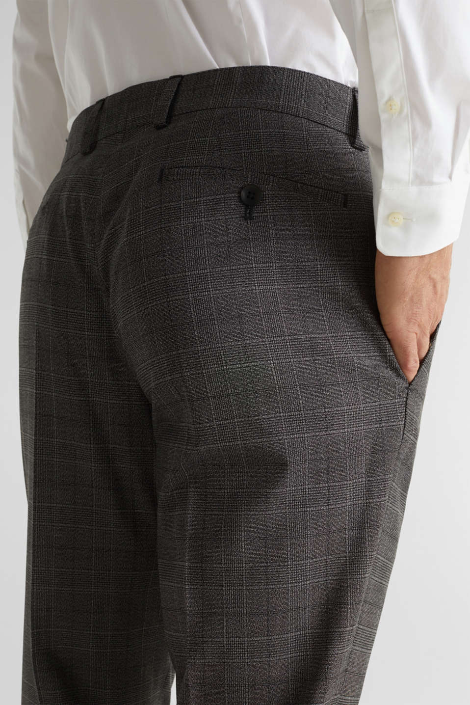 GLENCHECK mix + match: Trousers with Prince of Wales check pattern, DARK GREY 3, detail image number 3