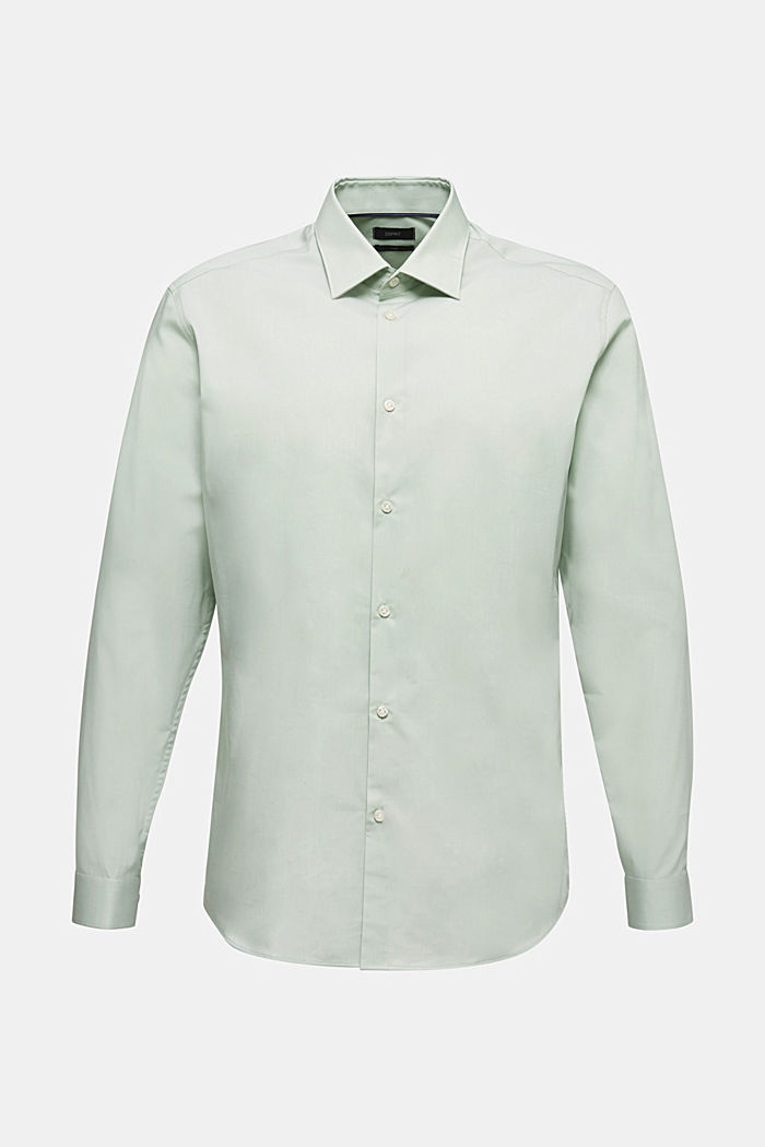 Shirt with mechanical stretch, 100% cotton, LIGHT GREEN, detail image number 0