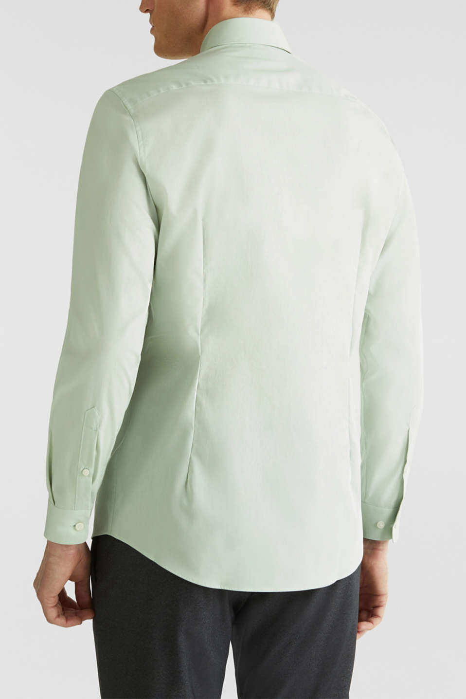Shirt with mechanical stretch, 100% cotton, LIGHT GREEN 5, detail image number 3