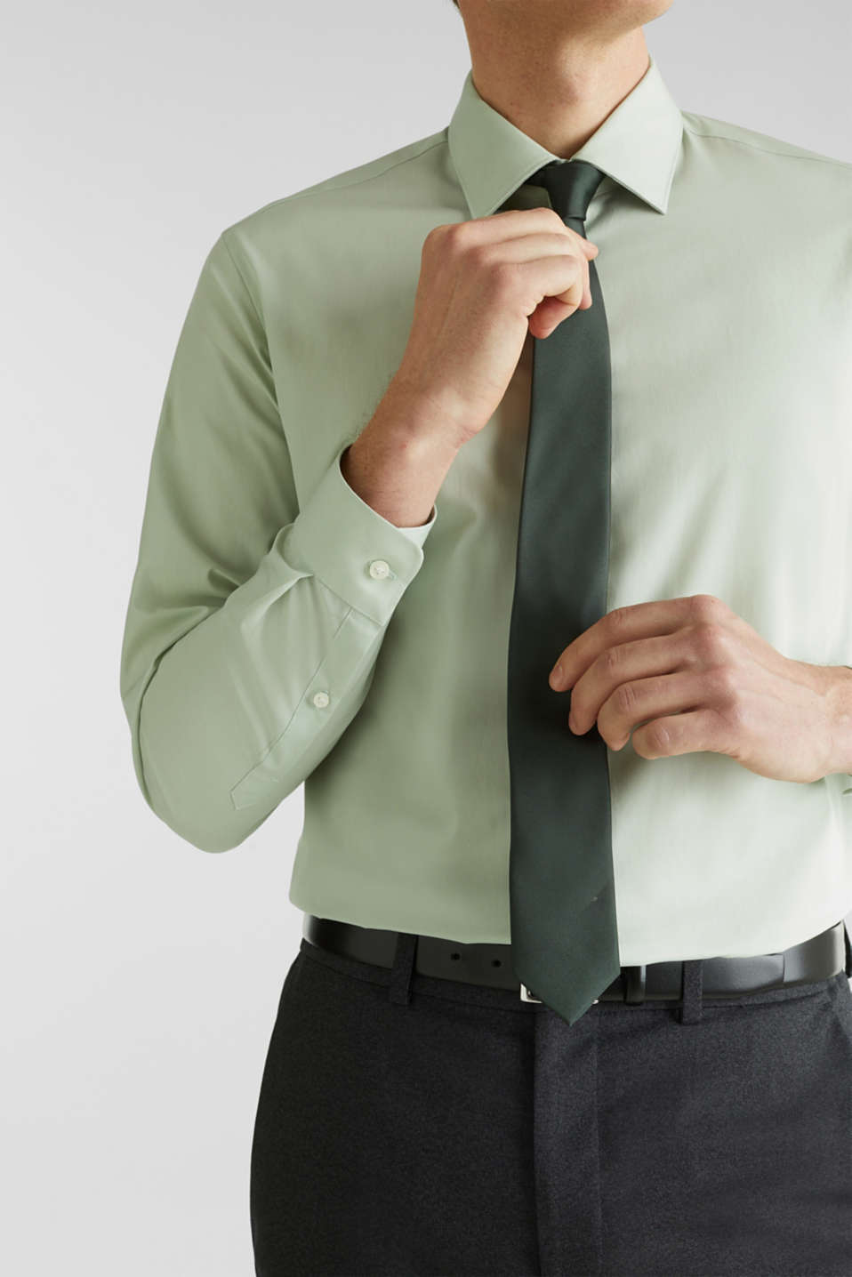 Shirt with mechanical stretch, 100% cotton, LIGHT GREEN 5, detail image number 2