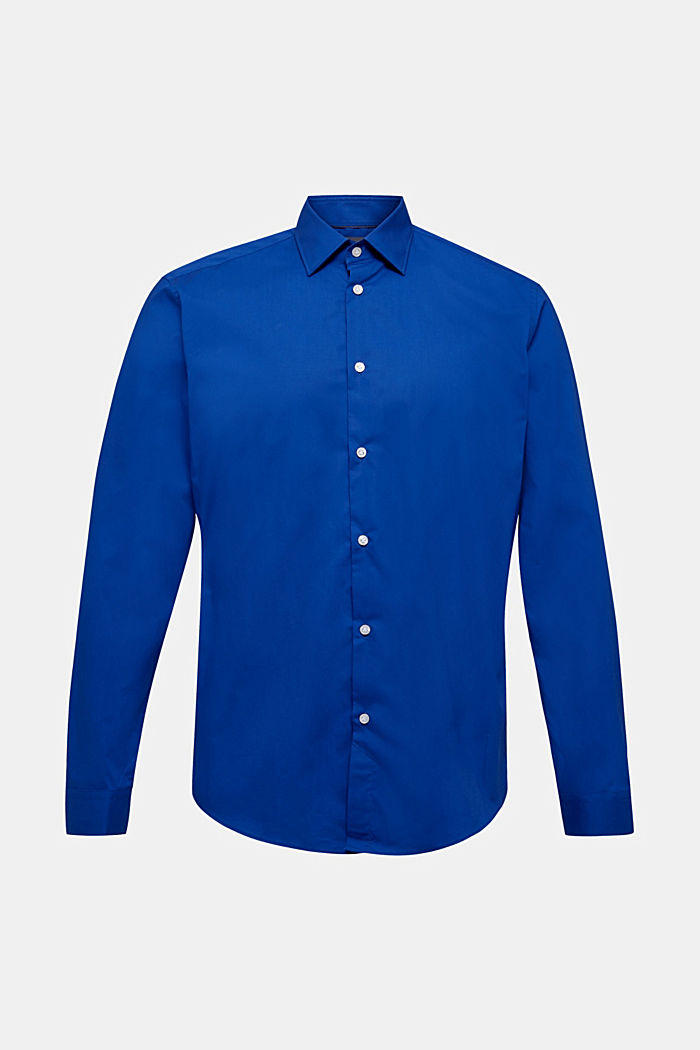 Shirt with mechanical stretch, 100% cotton, BLUE, detail image number 0