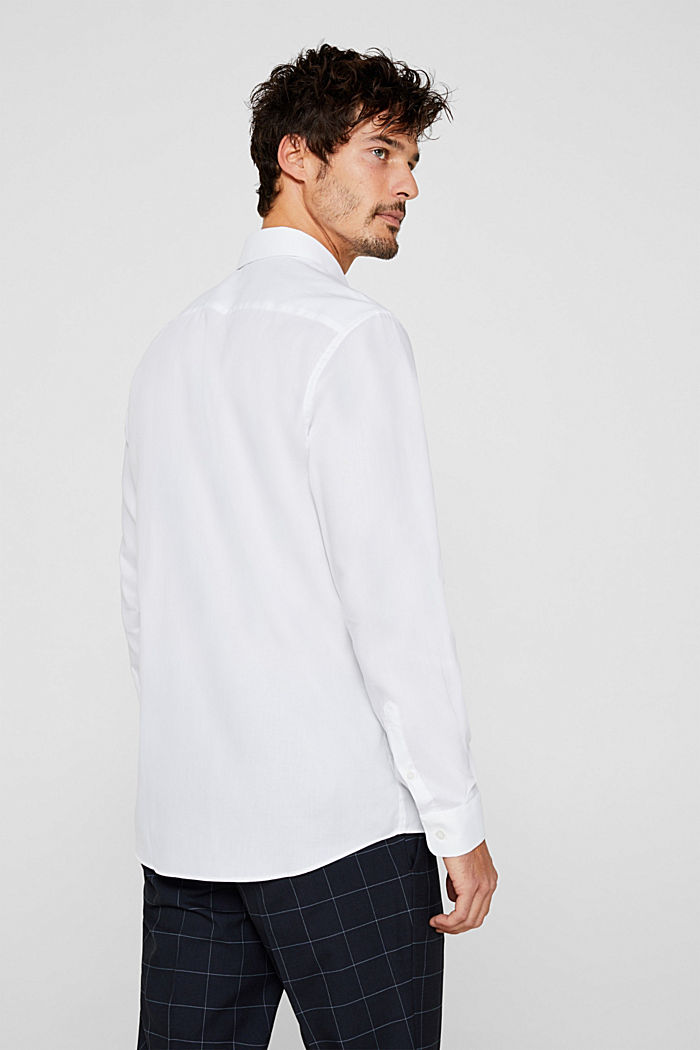 Herringbone shirt with mechanical stretch, WHITE, detail image number 3