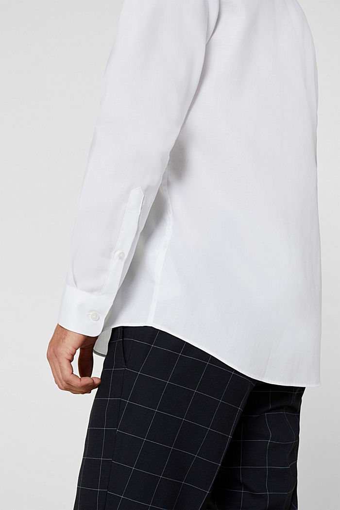 Herringbone shirt with mechanical stretch, WHITE, detail image number 2