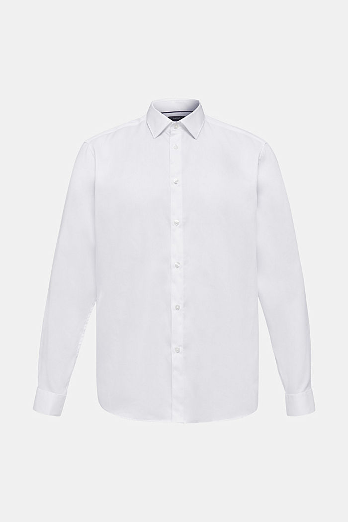 Herringbone shirt with mechanical stretch, WHITE, overview