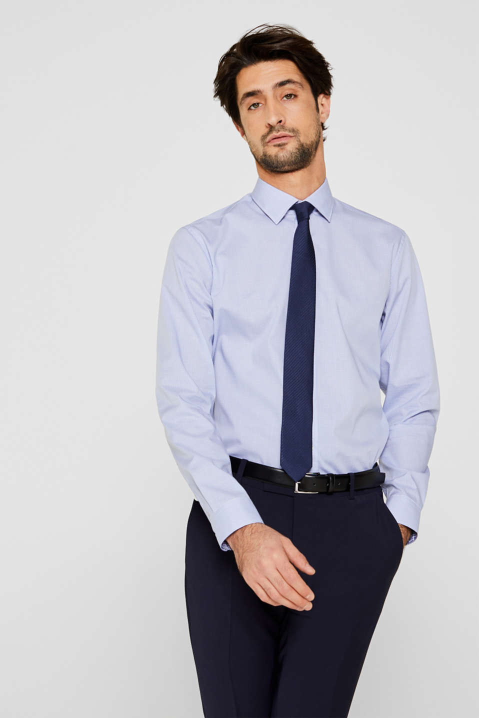 Esprit - Herringbone shirt with mechanical stretch