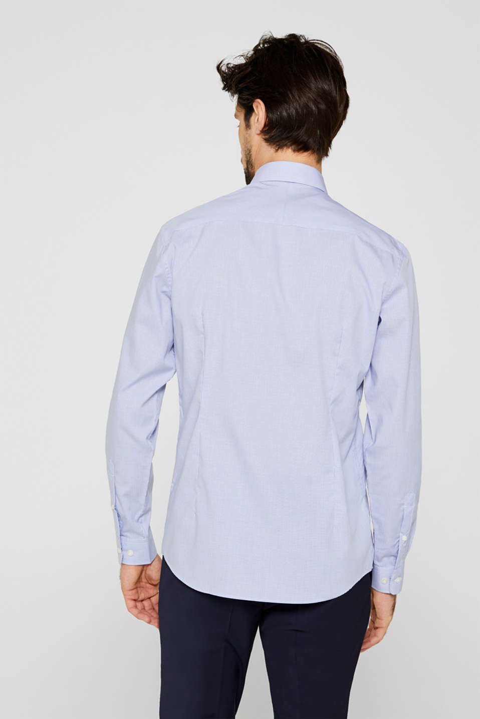 Herringbone shirt with mechanical stretch, LIGHT BLUE 5, detail image number 3