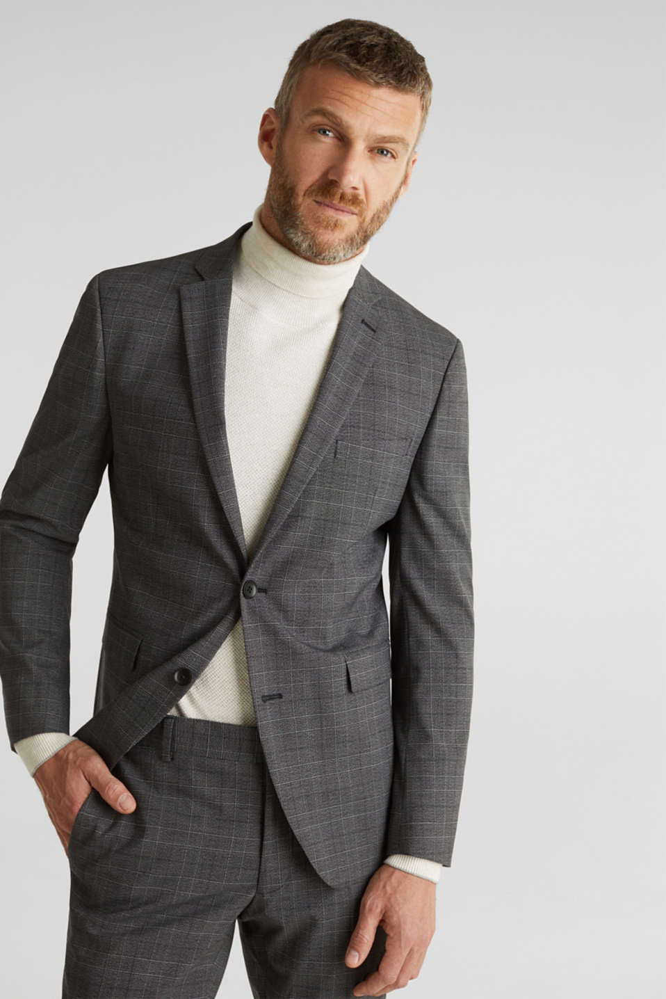 Esprit - GLENCHECK mix + match: sports jacket with Prince of Wales checks