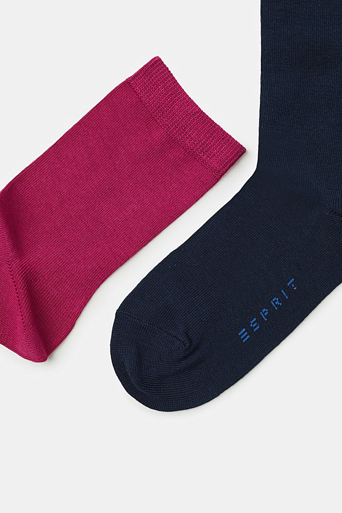 5er-Pack einfarbige Socken, BLUE/GREY/BERRY, detail image number 1