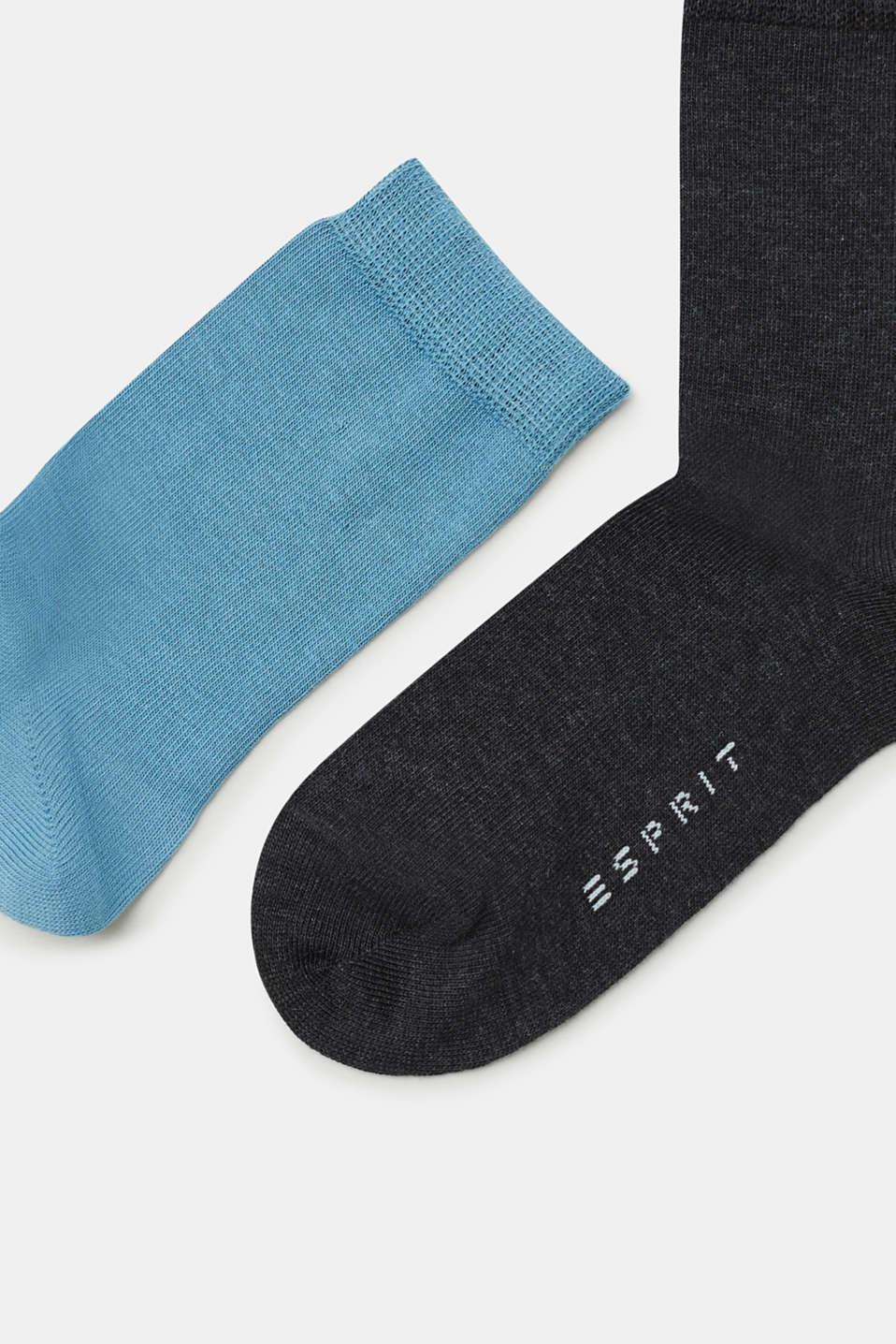 Five pack of plain-coloured socks, BLACK/BLUE/GREY, detail image number 0