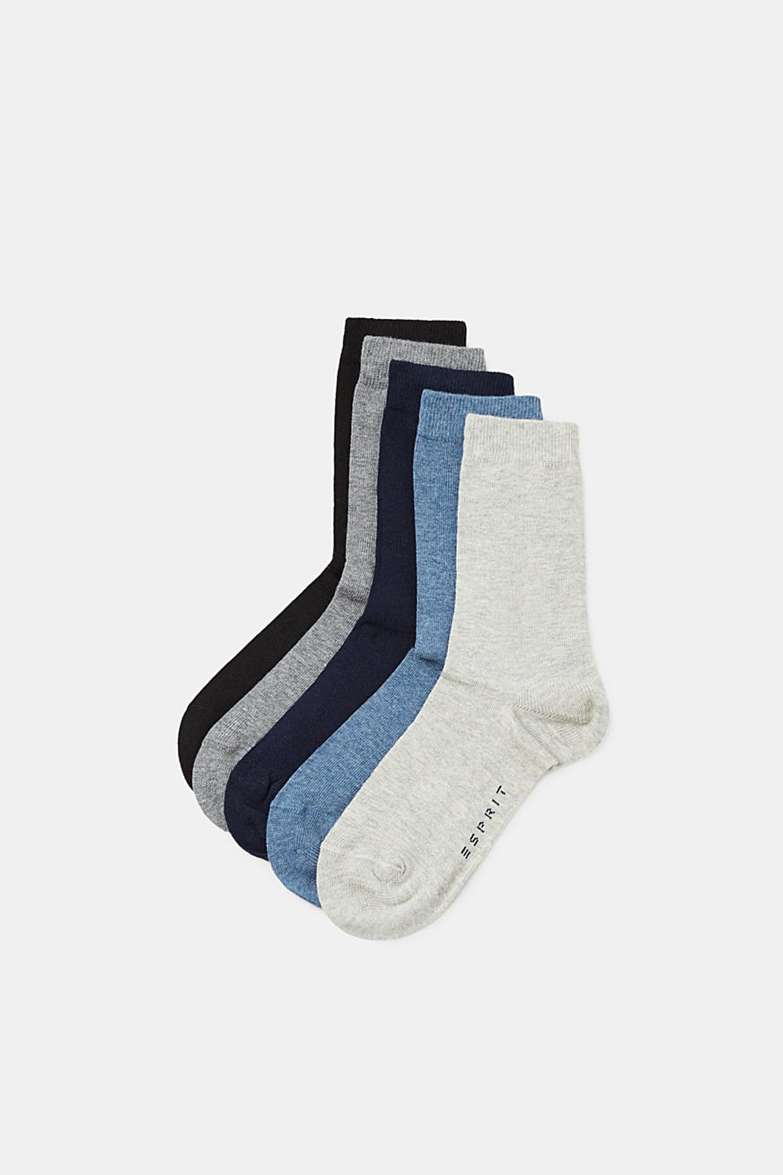 Five pack of plain-coloured socks