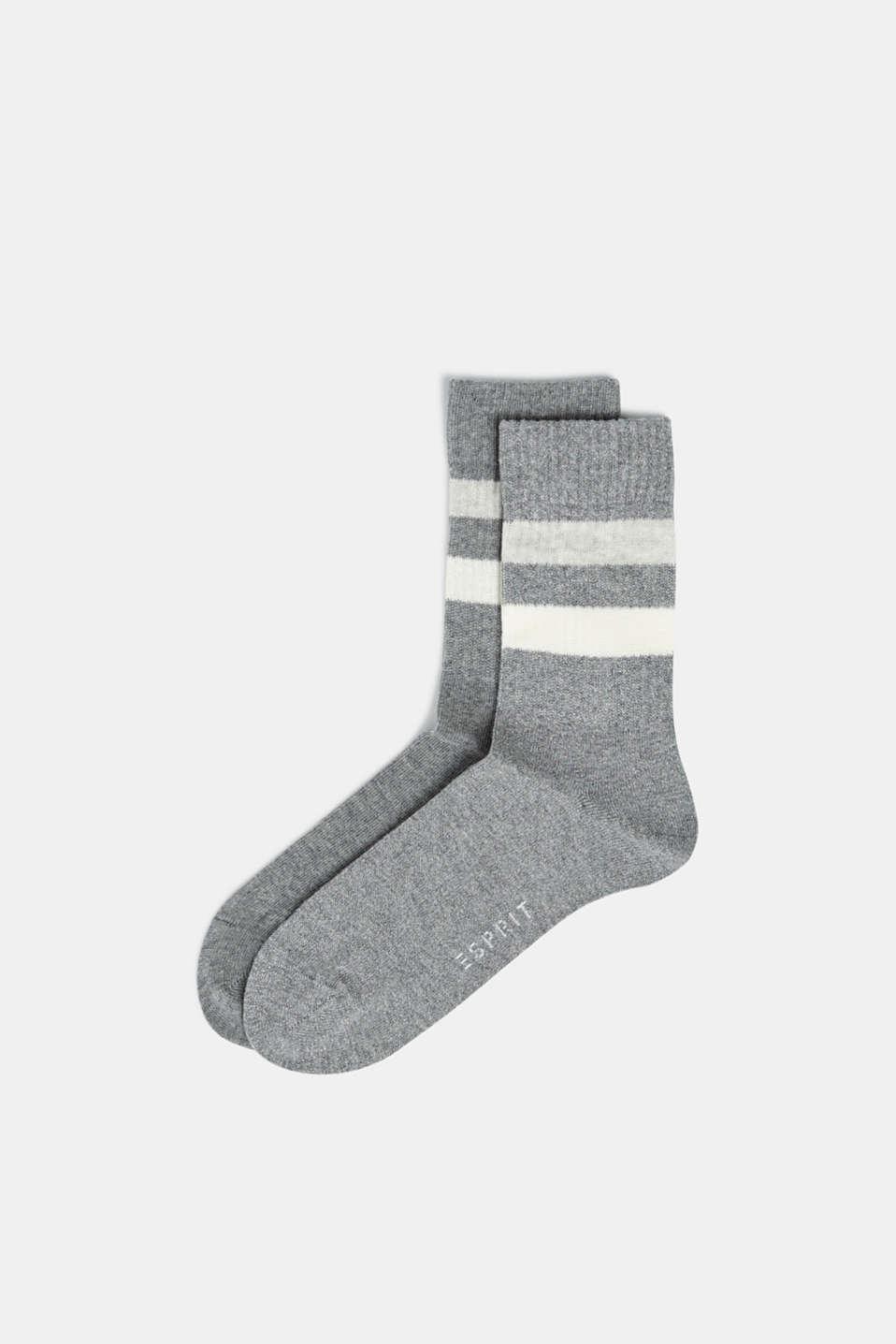 Double pack of socks with stripes, LIGHT GREY MELANGE, detail image number 0