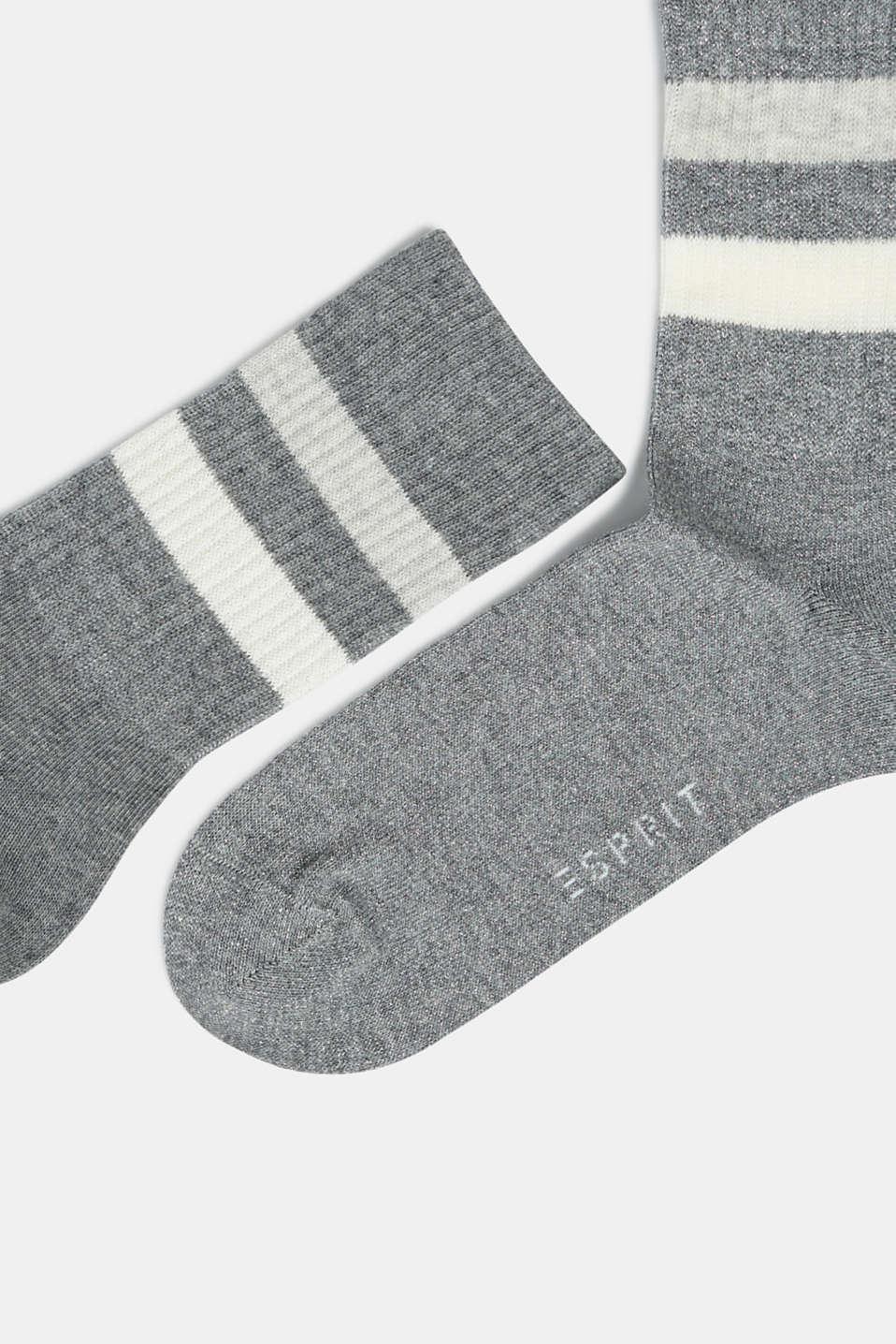 Double pack of socks with stripes, LIGHT GREY MELANGE, detail image number 1