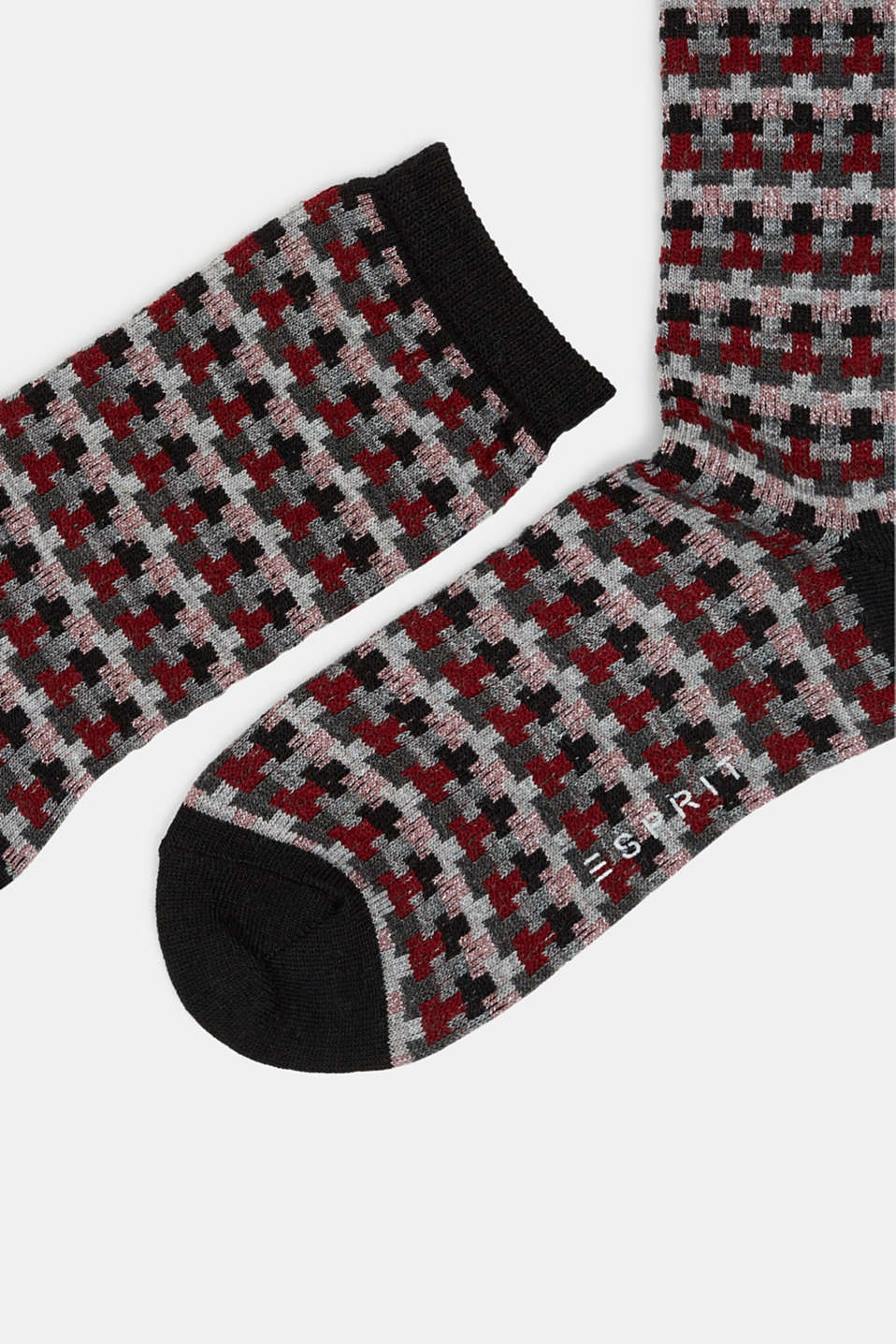 With new wool: jacquard socks with a glitter effect, BLACK, detail image number 1
