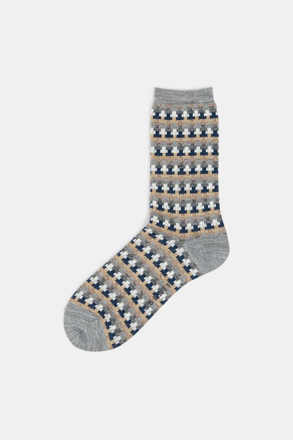 With new wool: jacquard socks with a glitter effect, MEDIUM GREY MELANGE, detail image number 0