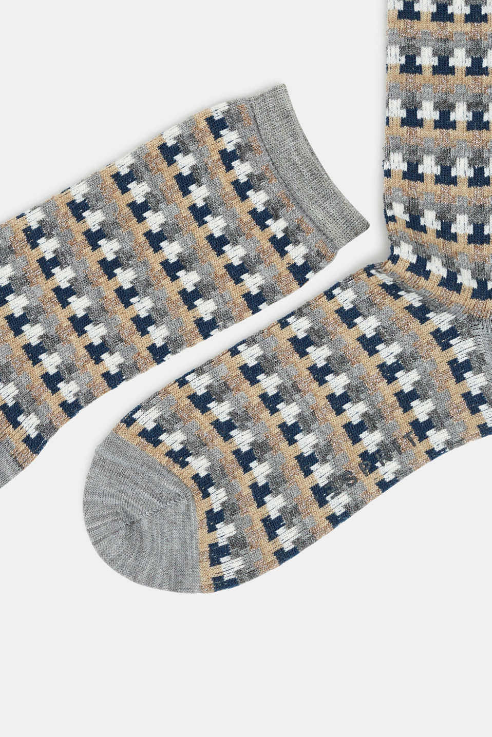 With new wool: jacquard socks with a glitter effect, MEDIUM GREY MELANGE, detail image number 1