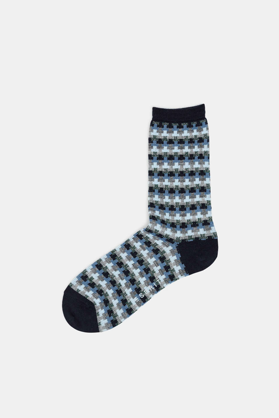 With new wool: jacquard socks with a glitter effect, MARINE, detail image number 0