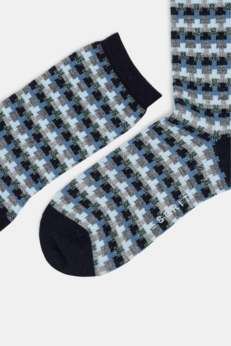 With new wool: jacquard socks with a glitter effect, MARINE, detail image number 1