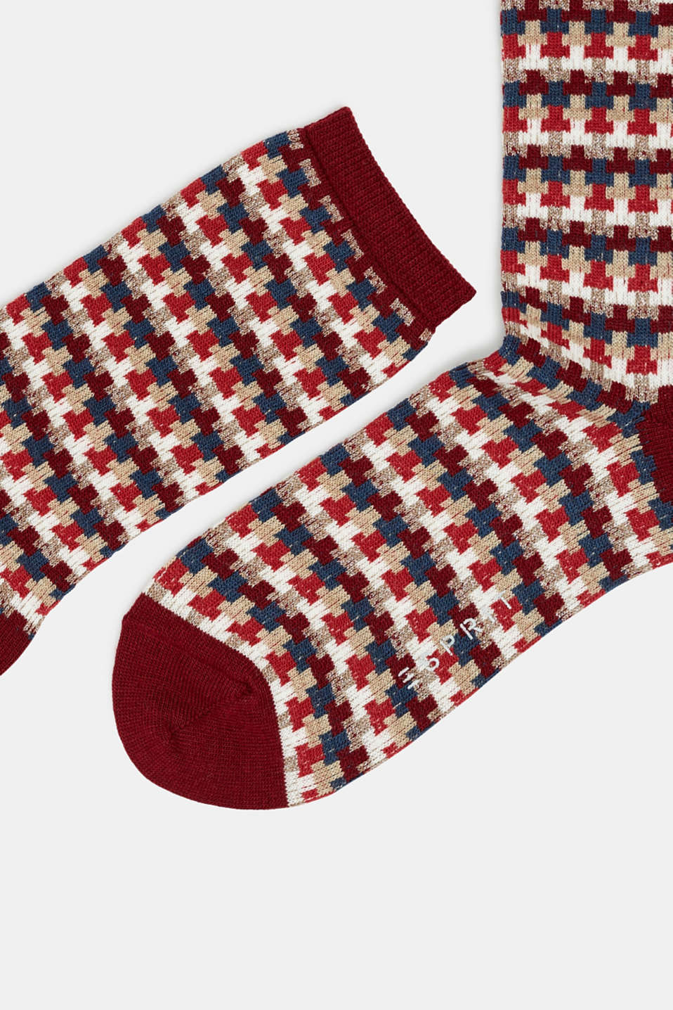 With new wool: jacquard socks with a glitter effect, MERLOT, detail image number 1