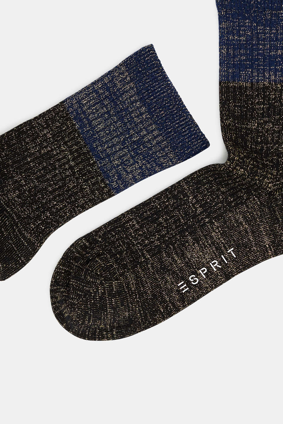 Fine knit socks with a glitter effect, BLACK, detail image number 1