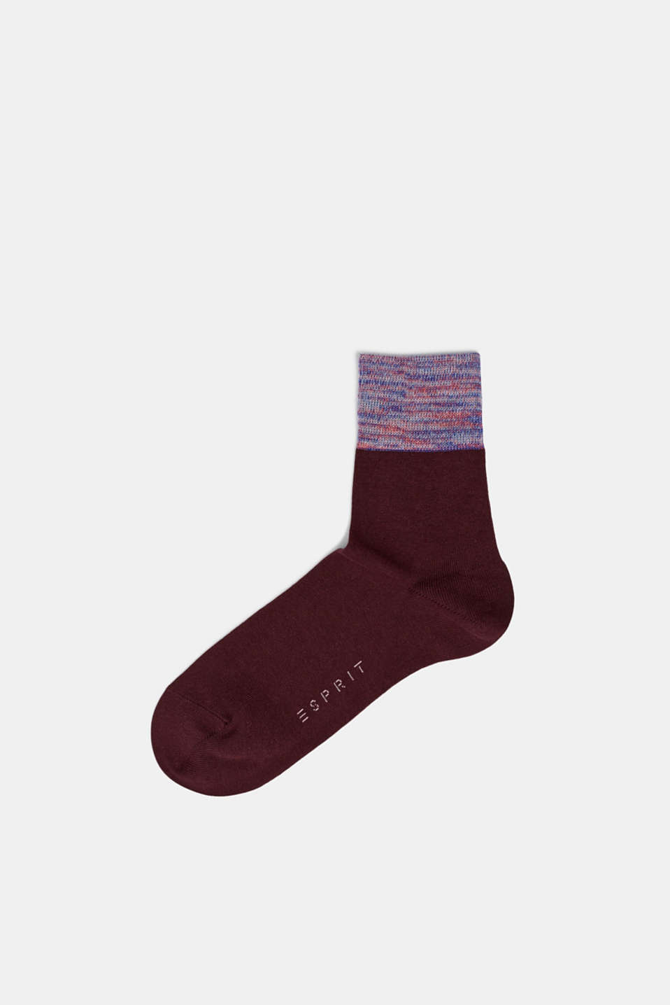 Socks with a melange cuff, BAROLO, detail image number 0