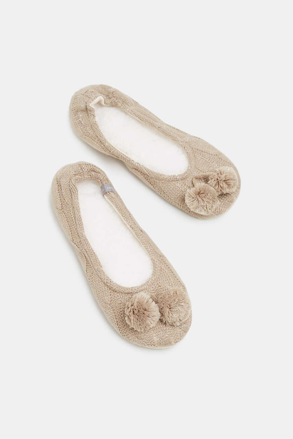 Slip-ons with a faux fur sole, NUTMEG MELANGE, detail image number 0